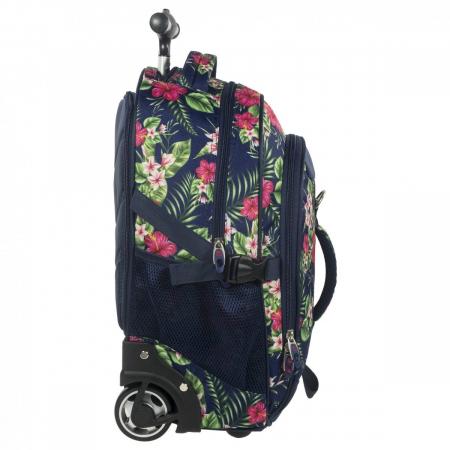 Ghiozdan troler scoala copii, Fete, Back UP Tropical Flowers, Casti CADOU, 46 cm1