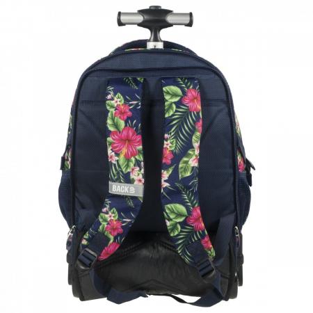 Ghiozdan troler scoala copii, Fete, Back UP Tropical Flowers, Casti CADOU, 46 cm2