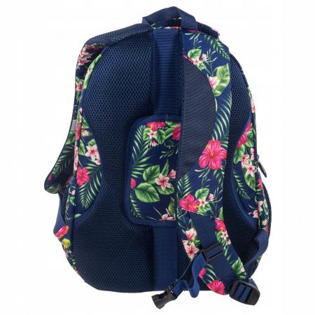 Ghiozdan scoala copii, Fete, Back UP TROPICAL FLOWERS, Casti CADOU, 42 cm1