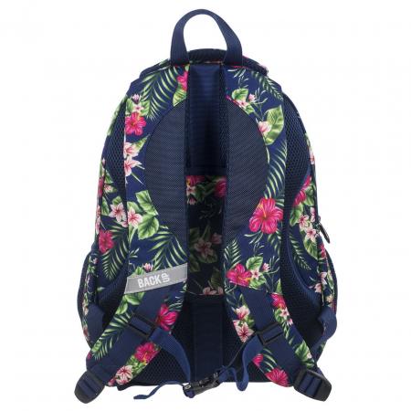 Ghiozdan scoala copii, Fete, Back UP TROPICAL FLOWERS, Casti CADOU, 42 cm
