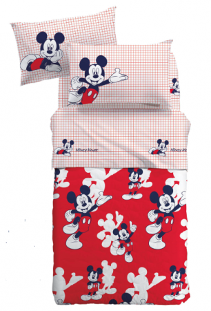 Lenjerie pat Mickey Topolino matlasata, 160x280 cm, alb1