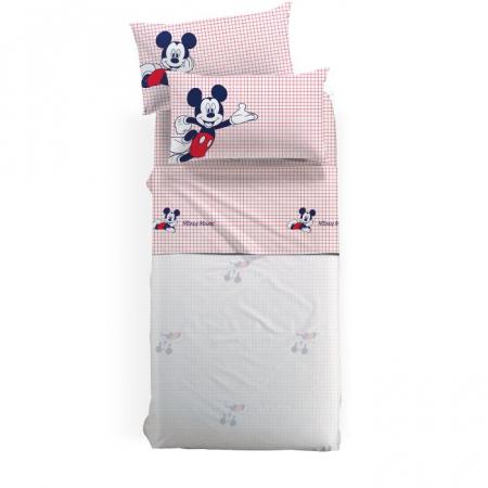 Lenjerie pat Mickey Topolino matlasata, 160x280 cm, alb0