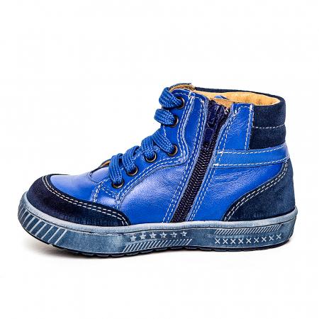 Pantofi primii pasi din piele Kid blu3