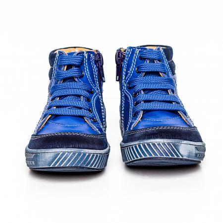 Pantofi primii pasi din piele Kid blu0