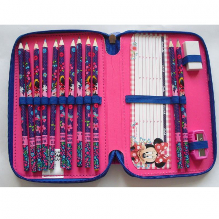 Penar scoala, echipat, dublu(2 compartimente), Fete, Minnie Mouse2
