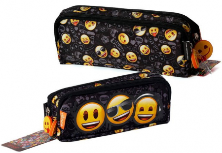 Penar scoala, neechipat, dublu (2 compartimente), Emoji, Smiley Face1