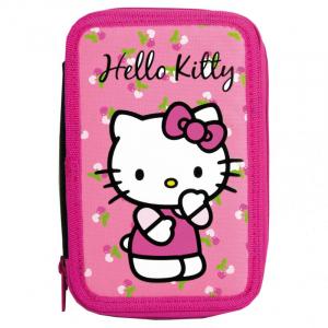 Penar scoala, echipat, dublu(2 compartimente), Fete, Hello Kitty