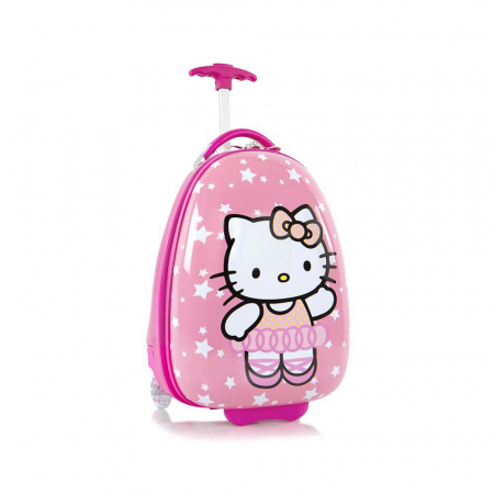 Troler calatorie ABS Copii - Fete,Hello Kitty, Roz, 46 cm0