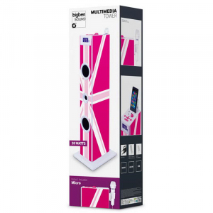 Sistem karaoke copii Buetooth cu microfon, Pink London, 2x10 W, 70 cm, Bigben3