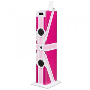 Sistem karaoke copii Buetooth cu microfon, Pink London, 2x10 W, 70 cm, Bigben0