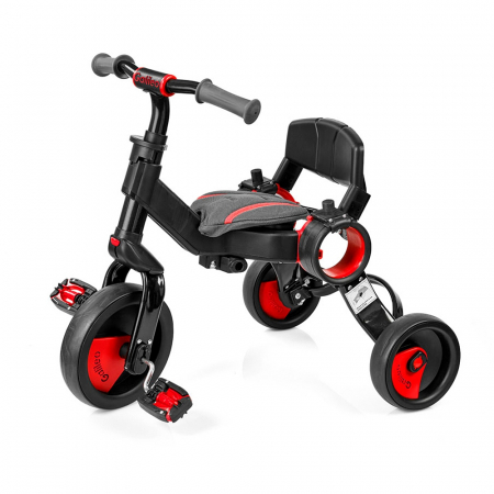 Tricicleta pliabila copii multifunctionala 4 in 1, Negru/Rosu, Toimsa Galileo, 10-36 luni2