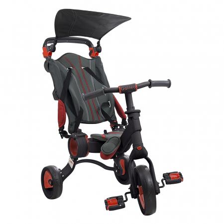 Tricicleta pliabila copii multifunctionala 4 in 1, Negru/Rosu, Toimsa Galileo, 10-36 luni0