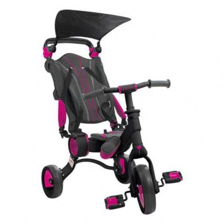 Tricicleta pliabila copii multifunctionala 4 in 1, Negru/Roz, Toimsa Galileo, 10-36 luni0
