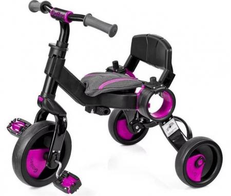 Tricicleta pliabila copii multifunctionala 4 in 1, Negru/Roz, Toimsa Galileo, 10-36 luni1