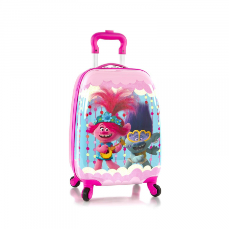 Troler calatorie ABS Copii - Fete, Heys, Trolls Party, Roz, 46 cm4