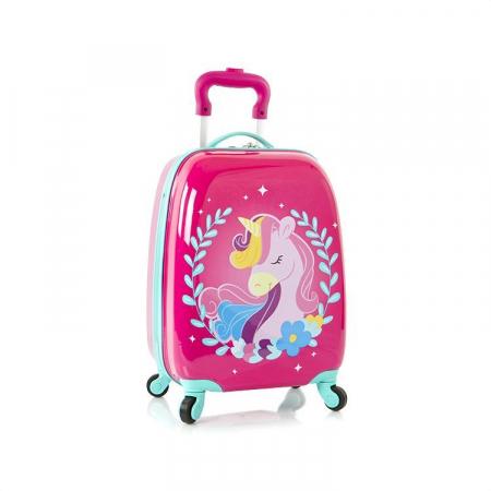Troler calatorie ABS Copii - Fete, Heys, Unicorn, Roz, 46 cm0