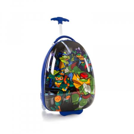 Troler copii calatorie ABS, Heys, Testoasele Ninja, Albastru, 46 cm0