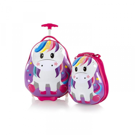 Set Troler ABS Copii si Ghiozdan, Fete, Heys Unicorn, Multicolor, 46CM0