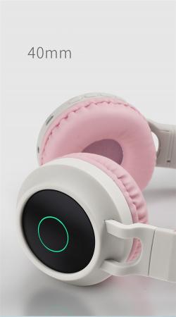 Casti Audio pentru copii Surround Bluetooth 5.0, cu urechiuse, Roz1