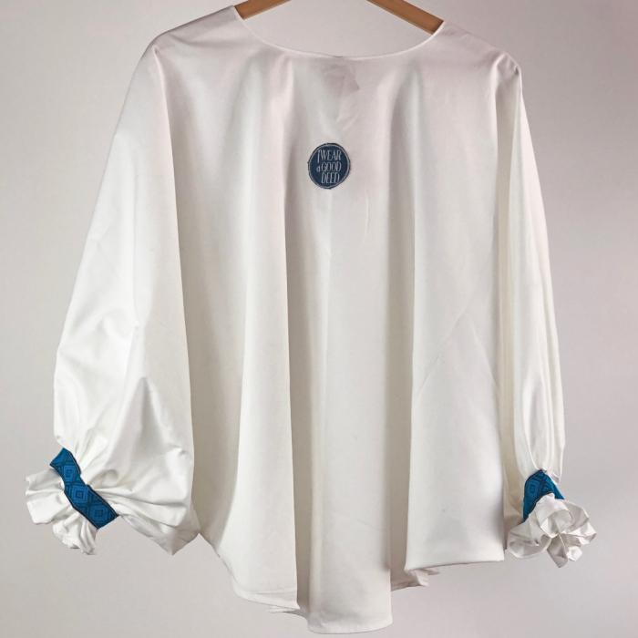 """Atelier Merci - Bluză """"Înțelepciunea este adevăr"""", culoare albă 4"""