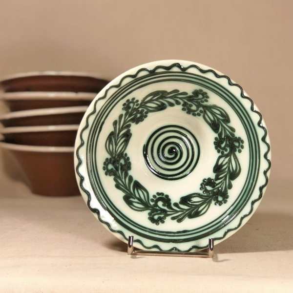 Bol alb verde Ø 15 cm model 2 0