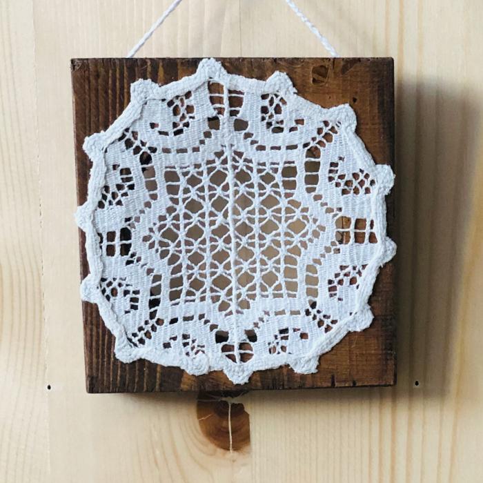 c u l c u ș - Tablou lemn macrame 11 x 11 cm model 3 0