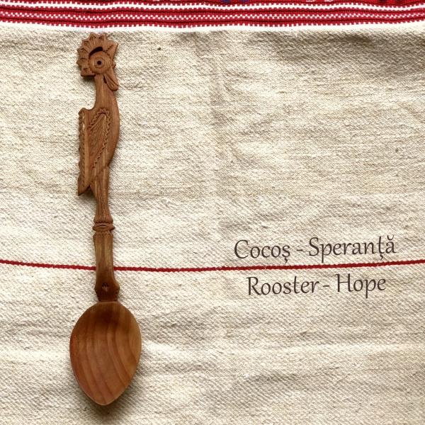 Lingură lemn cireș - Cocoșul 0