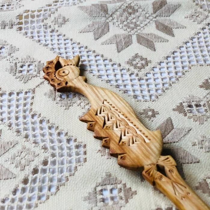 Lingură lemn cireș - Cocoșul 1