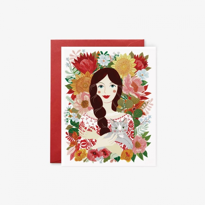 Greeting Card - Peasant Girl with Cat 0
