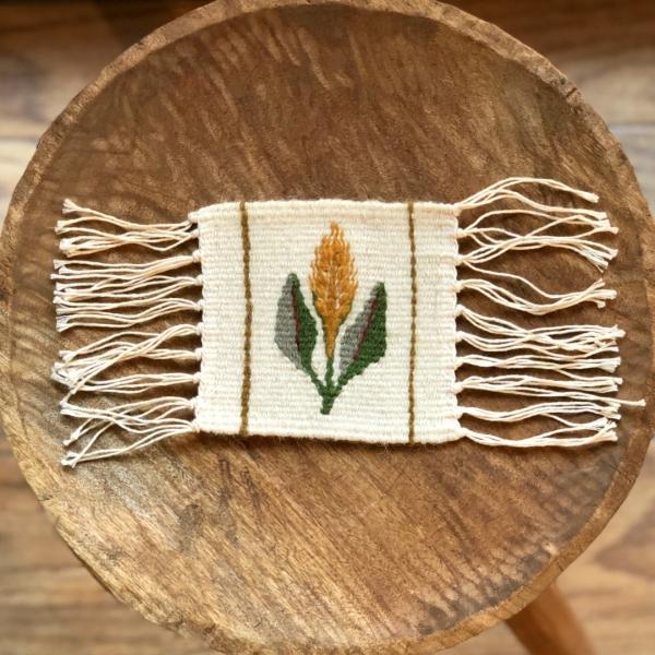Carpetă 10x10 cm motiv spic de grâu galben 0