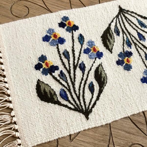 Carpetă 35x20 cm motiv flori de câmp albastre 1