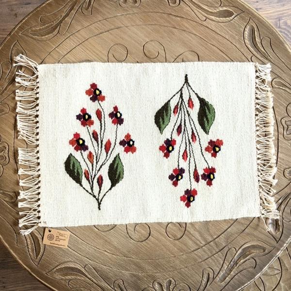 Carpetă 40x30 cm motiv flori de câmp roşii 1