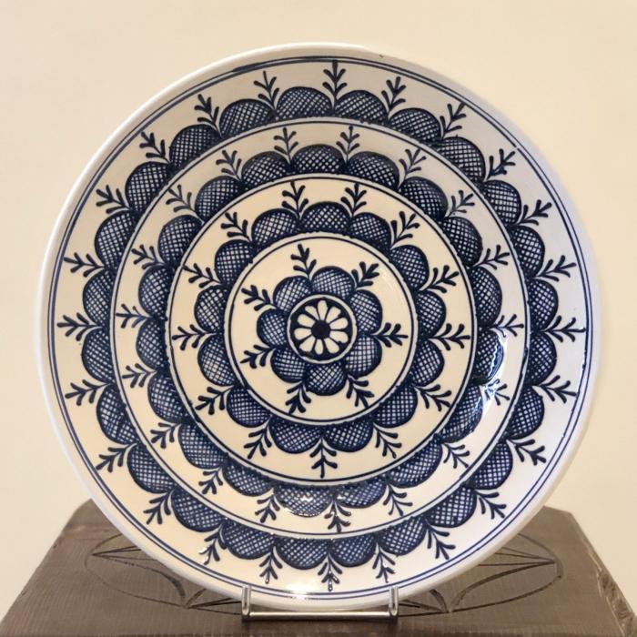 Farfurie alb-albastră Ø 24 cm model 1 0