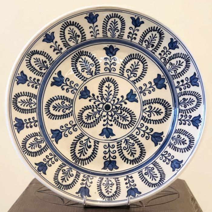 Farfurie alb-albastră Ø 28 cm model 3 0