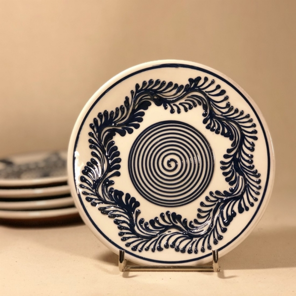 Farfurie alb albastră Ø 14 cm model 5 0