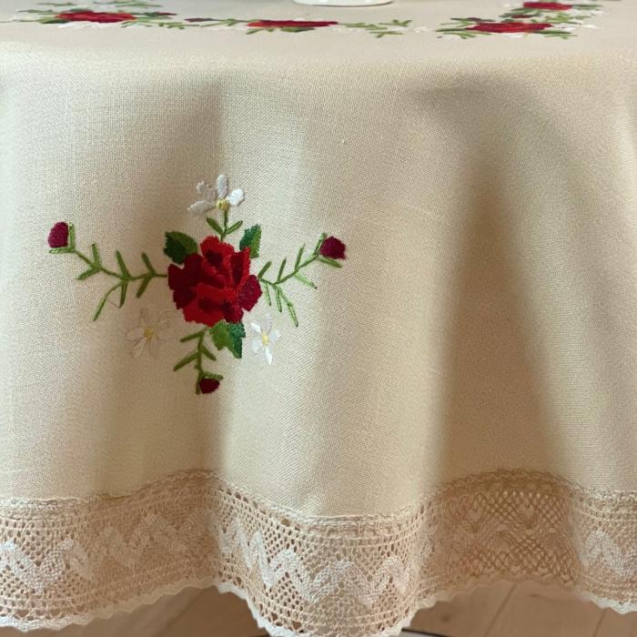 Față de masă rotundă - 1.7 m flori roșii mari 3