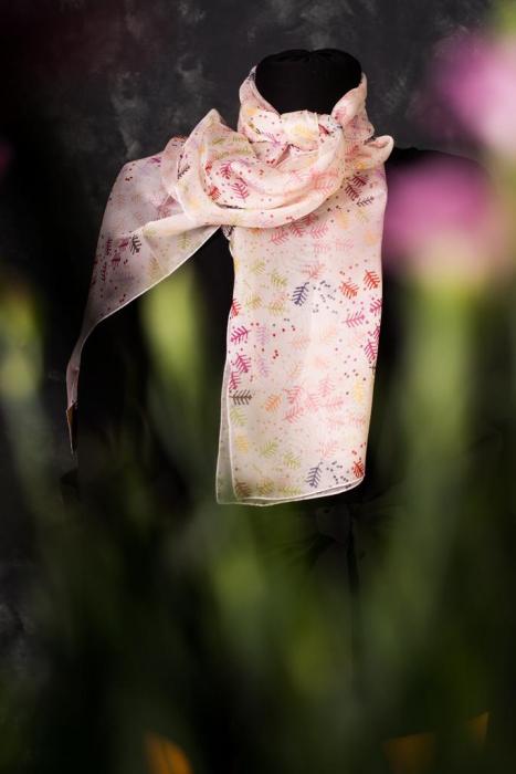 Eșarfă muselină din mătase naturală Minunat by Irina, motiv Pomul Vieții, 140 x 44 cm 1