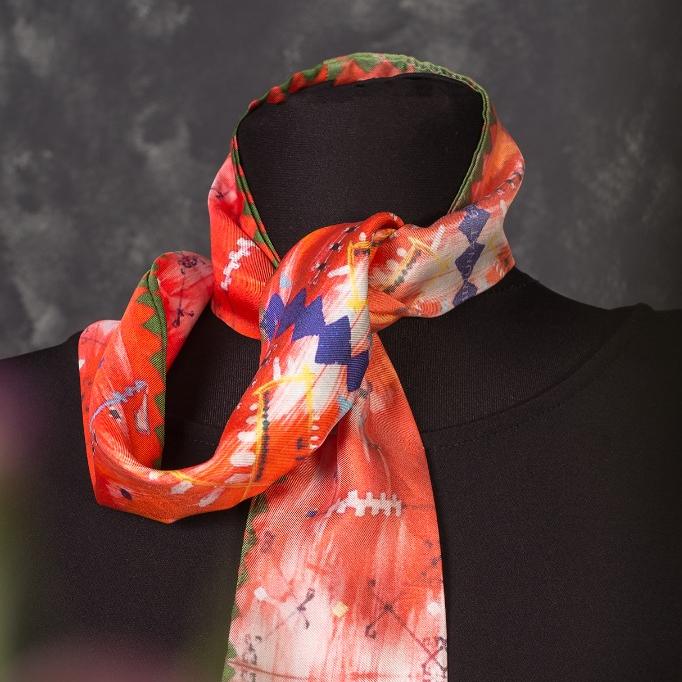 Cravată twill din mătase naturală Minunat by Irina, Broderii de pe ii, portocaliu, 130 x 8 cm 1