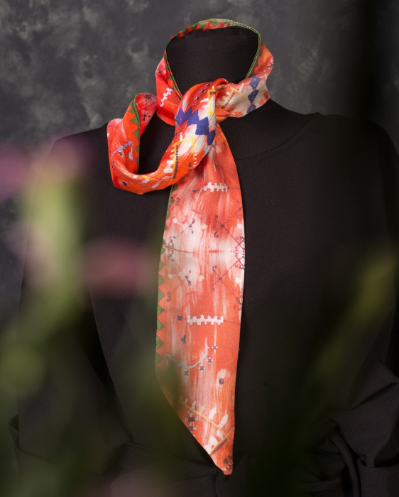 Cravată twill din mătase naturală Minunat by Irina, Broderii de pe ii, portocaliu, 130 x 8 cm 0