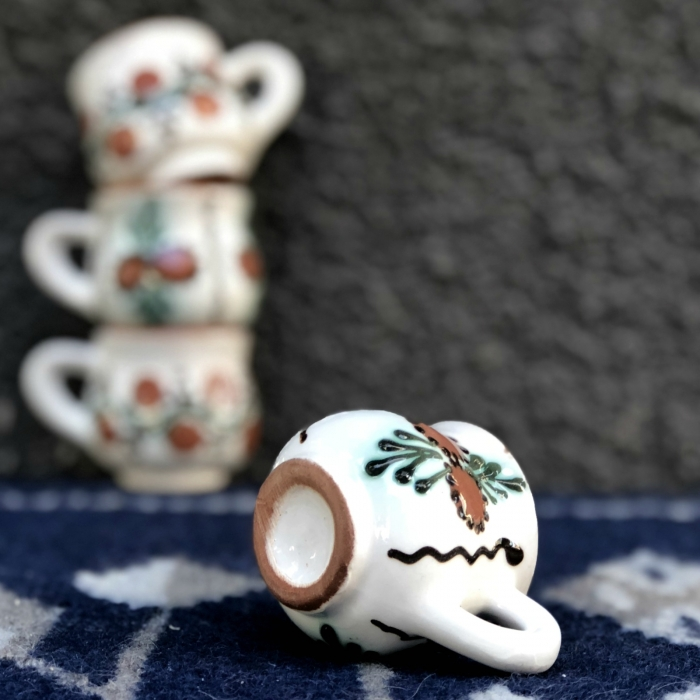 Pahar țuică alb maro model 2 1