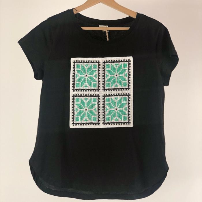 ZSTR - Tricou femei cu broderie tradițională chenar, mărime S 1