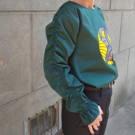 """Atelier Merci - Bluză """"Cu gândul la soare"""", culoare verde5"""