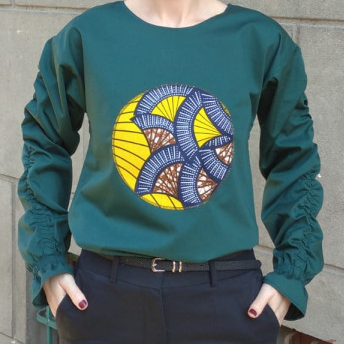 """Atelier Merci - Bluză """"Cu gândul la soare"""", culoare verde6"""