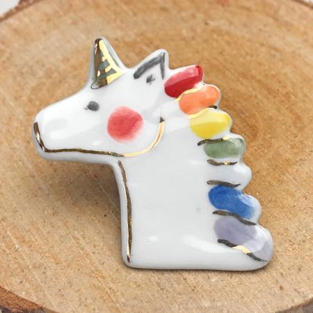 Ceramiceanu - Broșă porțelan unicorn [1]