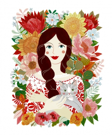 Greeting Card - Peasant Girl with Cat1