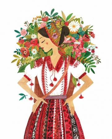 Felicitare - Tărăncuță cu flori1