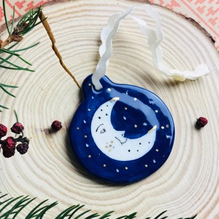 Gruni - ornament albastru brad semilună0