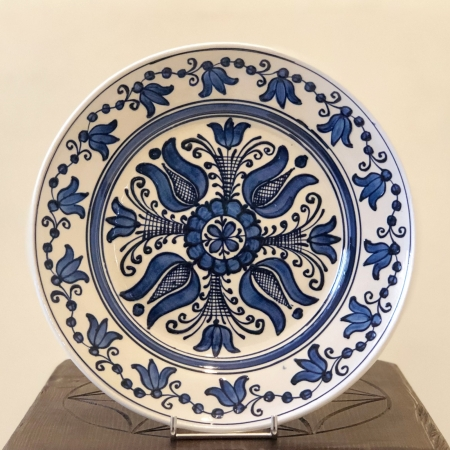 Farfurie alb-albastră Ø 24 cm model 20