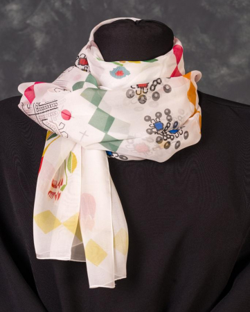 Eșarfă muselină din mătase naturală Minunat by Irina, motiv Flori, 140 x 44 cm0