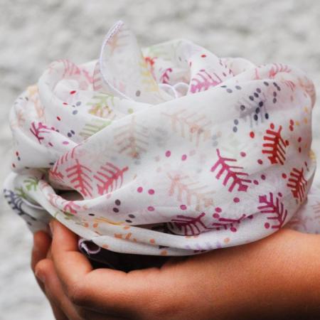 Eșarfă muselină din mătase naturală Minunat by Irina, motiv Pomul Vieții, 140 x 44 cm2